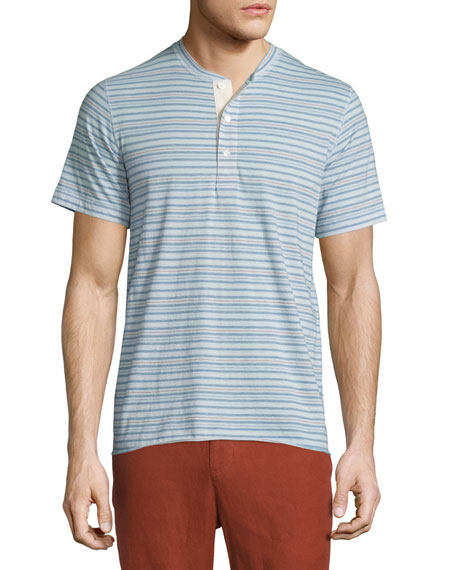 Billy Reid Hunter Striped Short-Sleeve Henley Shirt, Light