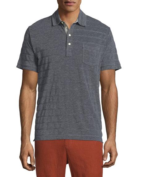 Billy Reid Davidson Tonal-Stripe Short-Sleeve Polo Shirt, Light Gray