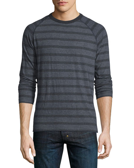 Billy Reid Indian Striped Crewneck Sweater, Navy