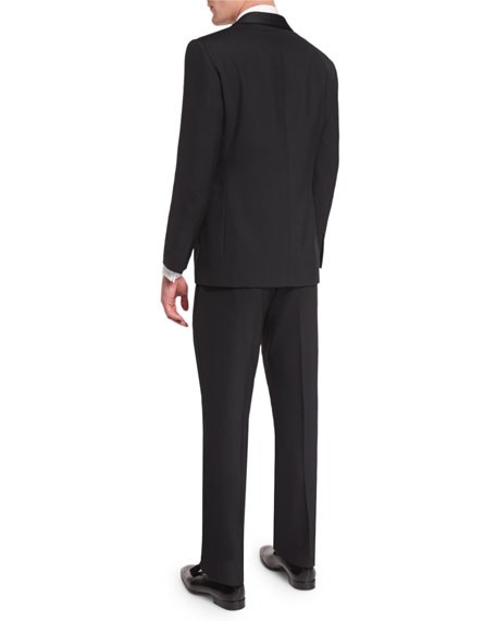 Anthony Shawl-Lapel Wool Tuxedo, Black
