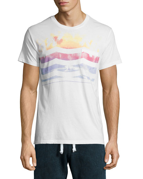 Sol Angeles Le Weekend Waves-Print Short-Sleeve T-Shirt, White