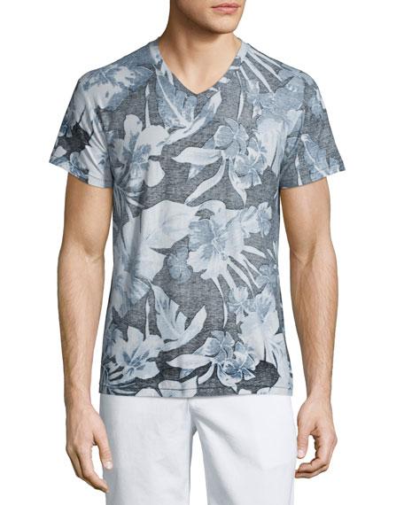 Sol Angeles Palms-Print V-Neck Short-Sleeve T-Shirt, Blue Pattern
