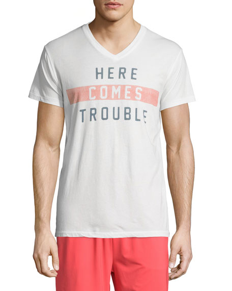 Sol Angeles Trouble V-Neck Short-Sleeve T-Shirt, White