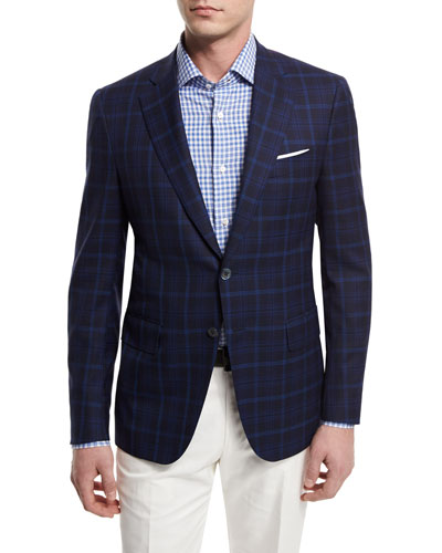 Plaid Two-Button Jacket, Navy