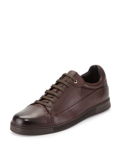 Men's Leather Low-Top Sneaker, Brown