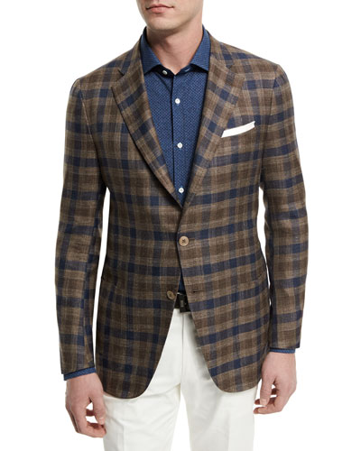 Large Check Two-Button Sport Coat, Brown/Navy