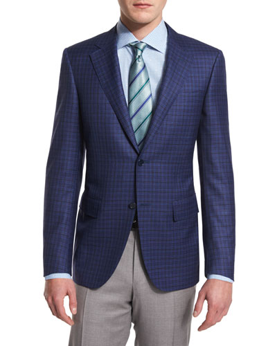 Sienna Check Two-Button Wool Sport Coat, Navy
