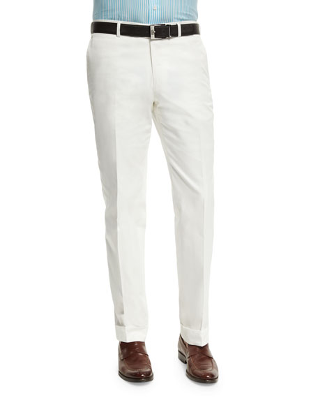 Isaia Gregory Flat-Front Cotton Trousers, White