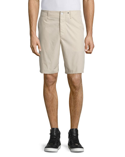Flat-Front Cotton Shorts, Tan