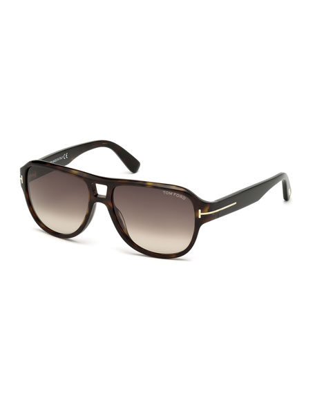 TOM FORD Shiny Dark Havana Sunglasses, Havana/Roviex