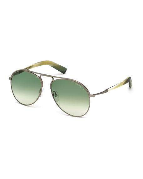 Cody Shiny Antique Metal Aviator Sunglasses, White/Green