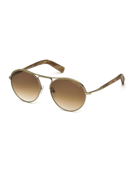 TOM FORD Jessie Rounded Aviator Sunglasses, Gold/Brown
