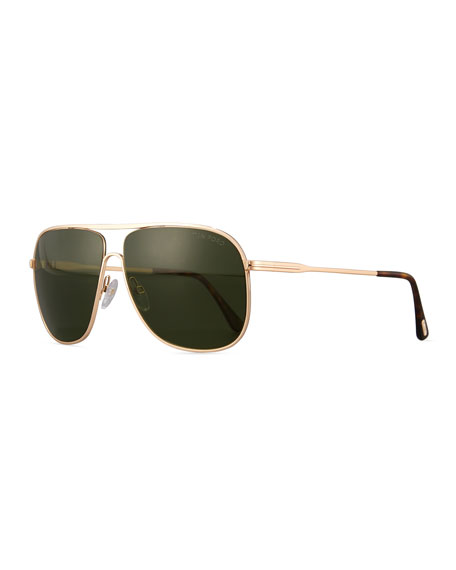 TOM FORD Dominic Metal Aviator Sunglasses, Rose Gold/Green