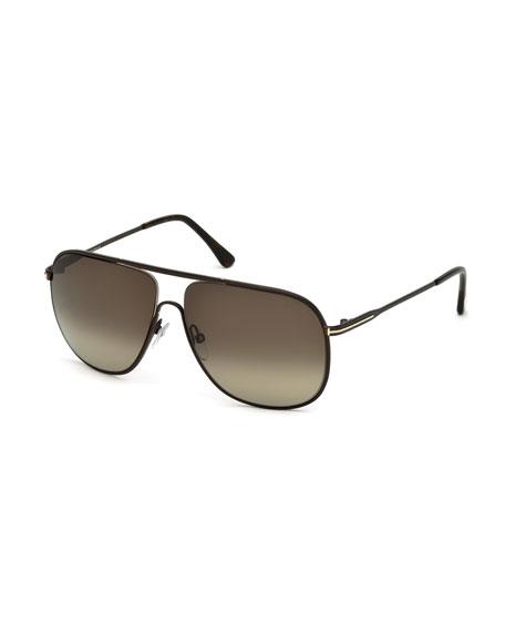 TOM FORD Dominic Havana Metal Aviator Sunglasses, Brown/Roviex