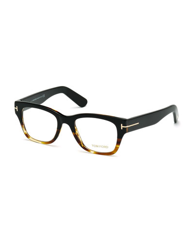 Large Gradient-Frame Eyeglasses, Black/Havana