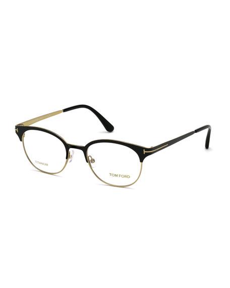 TOM FORD Shiny Titanium Round Eyeglasses, Rose Golden/Black