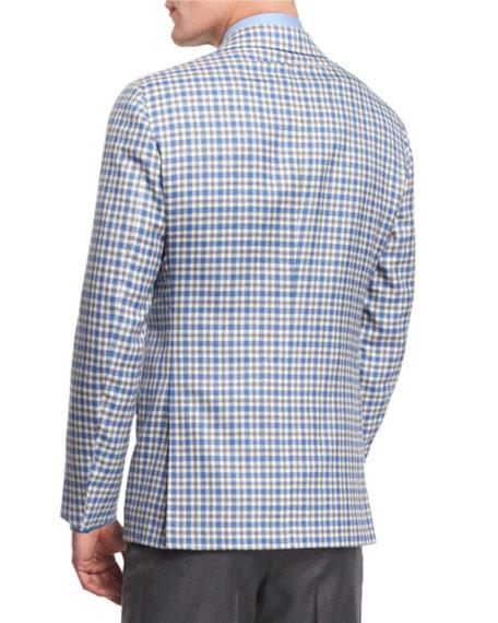 Check Two-Button Cashmere Sport Coat, Blue/White