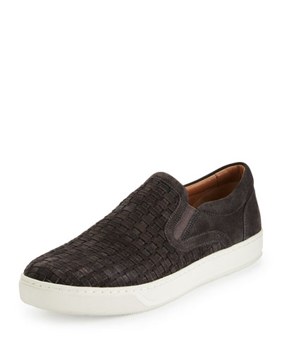 Ace Woven Suede Slip-On Sneaker, Graphite