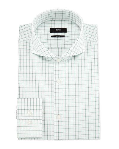 Jery Slim-Fit Jacquard-Check Dress Shirt, White/Green