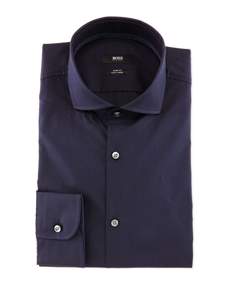 Jery Textured Solid Slim-Fit Dress Shirt, Blue