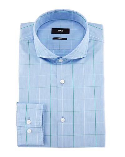 Jaxon Large-Windowpane Slim-Fit Dress Shirt, Blue