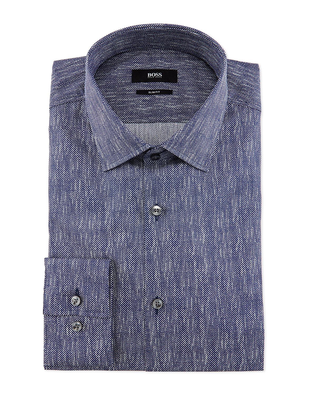 6cf749c2d BOSS Jenno Printed Slim-Fit Dress Shirt, Navy   Neiman Marcus