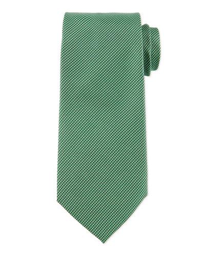Textured Solid Silk Tie, Green