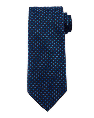 Diamond-Printed Silk Tie, Navy
