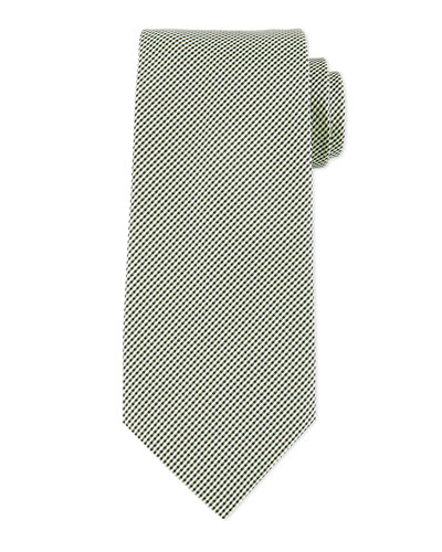 Neat Micro-Gingham Silk Tie, Green