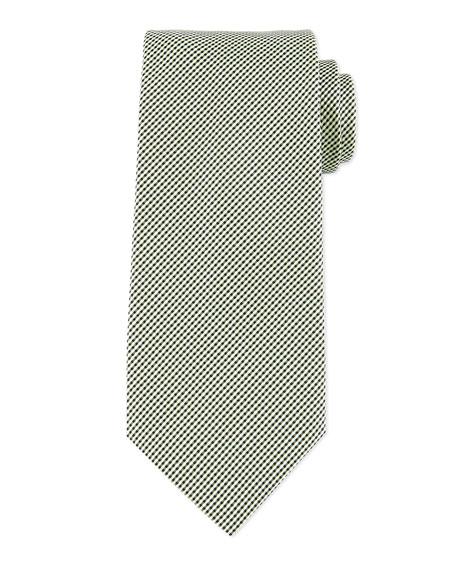 Boss Hugo Boss Neat Micro-Gingham Silk Tie, Green