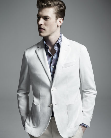 Canali Solid Two-Button Jersey Jacket, White