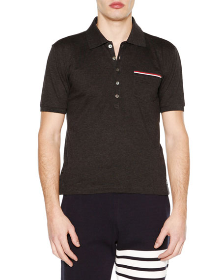 Thom BrowneShort-Sleeve Pique Polo Shirt, Dark Gray