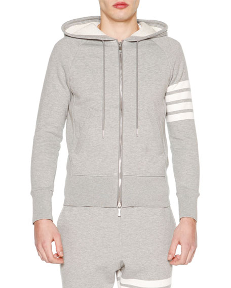 Thom Browne Classic Zip-Up Hoodie with Stripe-Detail, Light