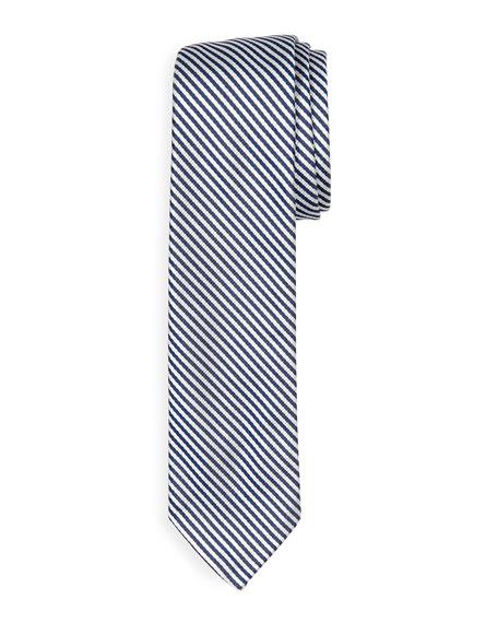 Classic University Striped Silk Tie, Navy