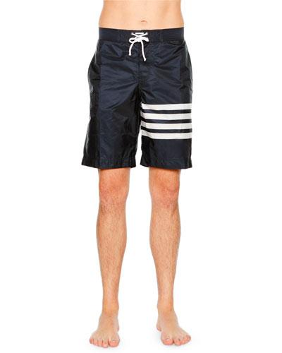 Striped-Leg Drawstring Boardshorts, Navy