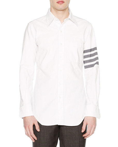 Thom Browne Solid Arm-Stripe Oxford Shirt, White