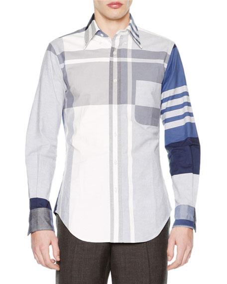 Thom Browne Oversized-Plaid Long-Sleeve Oxford Shirt, Blue
