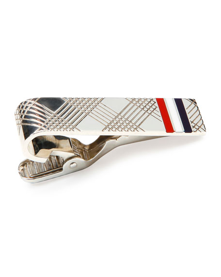 Check Tie Bar with Stripes, Silver
