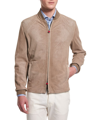 Perforated Suede Bomber Jacket, Tan
