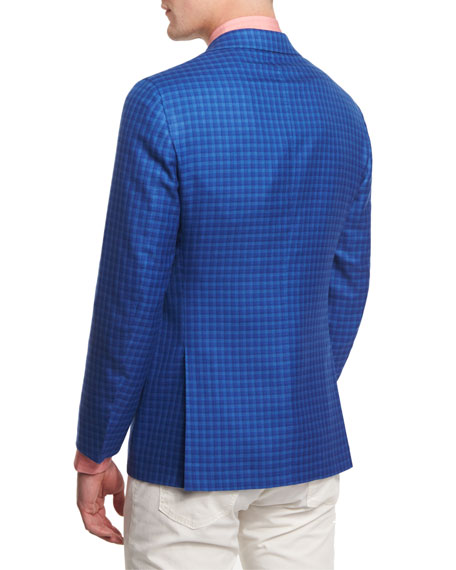 Cashmere-Blend Check Sport Coat, Blue