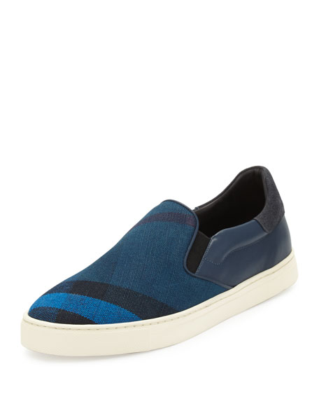 Burberry Copford Canvas Check & Leather Slip-On Sneaker,