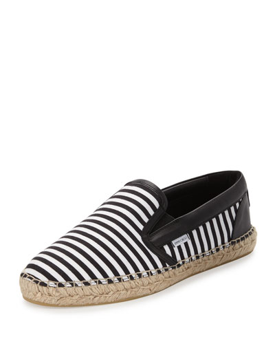 Vlad Men's Striped Espadrille Slip-On Sneaker, Black/White