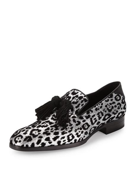 Jimmy Choo Foxley Men's Glitter Leopard-Print Tassel Loafer,