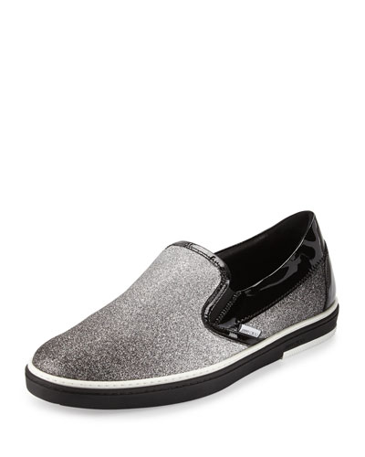 Grove Men's Glittered Slip-On Sneaker, Black/Silver