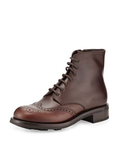 Prada Gradient Leather Wing-Tip Lace-Up Boot, Brown
