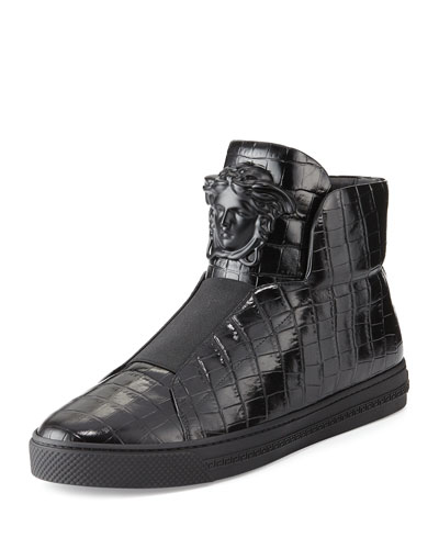 Palazzo Idol Crocodile-Embossed Leather High-Top Sneaker