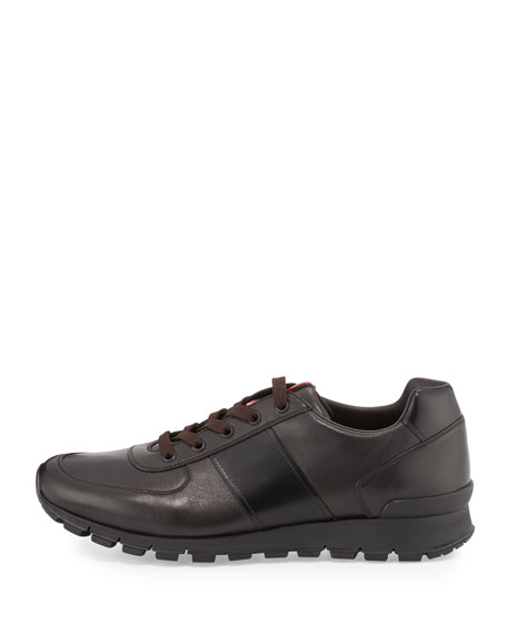 Leather Running Sneaker, Brown