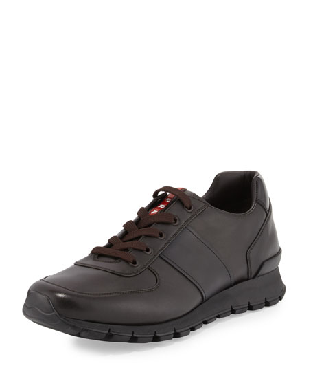 Prada Leather Running Sneaker, Brown