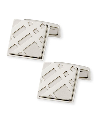 Check Engraved Square Cuff Links, Silver