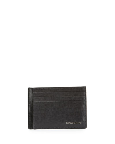 London Bicolor Leather Card Case, Charcoal/Black